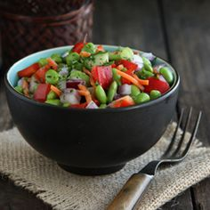 An easy, make ahead edamame salad -  perfect for the lunchbox!