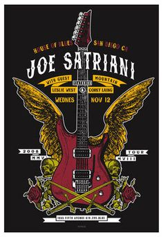 ☯☮ॐ American Hippie Psychedelic Classic Rock Music Poster ~ Joe Satriani