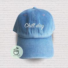 e6756b6df1dd0 Chill Day Baseball Hat Cotton Embroidered Cap Denim Unisex Hat Black Color  Hat Soldier Cap Tumblr Pinterest