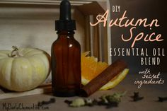 Autumn Spice Essential Oil Blend with secret ingredients!  This DIY recipe can be diffused or turned into non-toxic hand soap, candles, or scented fall decorations!  By My Darla Clementine: