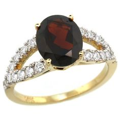 14k Gold Garnet Engagement Ring - This Beautiful 14k Gold Garnet Engagement Ring is crafted from Solid 14 Karat Gold & set with Genuine Diamonds & a Precious Gem. This lovely Oval ring is stamped in 14k Yellow gold with a total gem weight of 2.65 carats in a prong setting. The total number of stones is 21 and they are natural not-treated. #unusualengagementrings