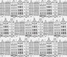DutchHouses black on white fabric by blue_jacaranda on Spoonflower - custom fabric Building Illustration, House Illustration, Coloring Books, Coloring Pages, House Doodle, Amsterdam Houses, Dutch House, House Quilts, House Drawing