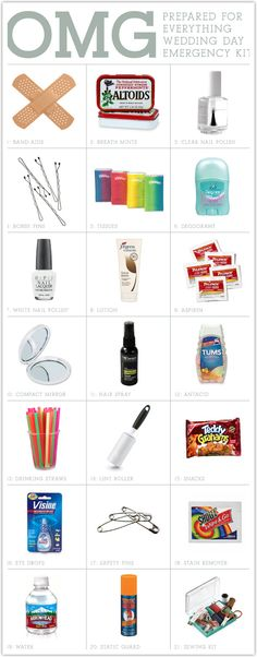 Every MOH should come packin' with an Wedding Day Emergency Kit like this!