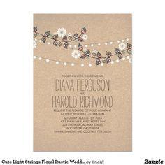 Cute Light Strings Floral Rustic Wedding Invite