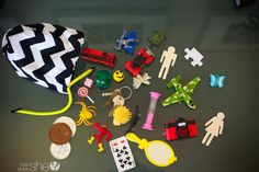 You choose 5 objects from the bag of random things are create a story.  Perfect for building imagination!