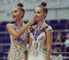 From left to right: Dina Averina RUS and Arina Averina RUS Gymnastics Flexibility, Rhythmic Gymnastics, Ballet, Gymnastics Photography, Dance Gifts, Artistic Gymnastics, Dance Outfits, Ribbon Dance, Russia