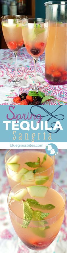 Spring Tequila Sangria | This refreshing white wine/tequila cocktail is packed with spring berries, sweetened with agave nectar, and contains notes of fresh mint. @bluegrassbites
