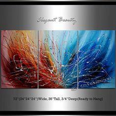 Large Abstract painting Wall Art Red and Blue by largeartwork