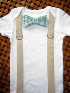 Boy Bowtie & Suspender Onesie or shirt Blue and by shopantsypants, $19.99