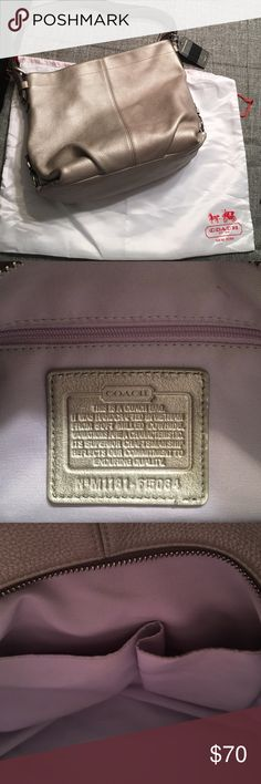 Coach pebbled leather purse and dust bag Well loved coach purse pewter color. Inside is lavender color.  tip of interior pockets could use spot cleaning otherwise great condition. I don't have original tag so I added one. The tag added is silver and black. Doesn't match perfect but I like some contrast. I can sell separately Coach Bags