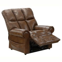 Catnapper Stallworth Power Lift Full Lay-Out Chaise Recliner in Chestnut