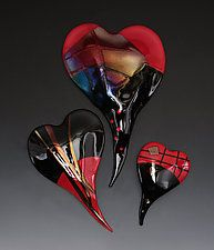 "Red and Black Glass Wall Hearts by Nina Cambron (Art Glass Wall Sculpture) (17"" x 10.5"")"
