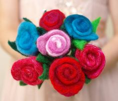 Bouquet red roses - 7 needle sculpted felt roses in reds pinks and blues -