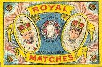 ROYAL MATCHES H.R.M KING  OF SWEDEN H.R.M QUEEN OF SWEDENTändsticksaskarROYAL TRÄDEN H.R.M KING OF SWEDEN H.R.M QUEEN OF SWEDEN Tändsticksaskar