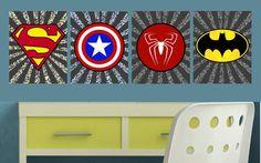 Superhero Logo - Boy's Room Wall Art Decor - Superman, Green Lantern, Flash, Batman, Captain America, Spiderman PRINTS Superhero Classroom, Superhero Room, Superman Room, Boy Room, Kids Room, Toy Room Storage, Painting For Kids, Happy Kids, Kid Beds
