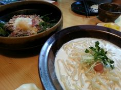 "Cream udon & salad soba @ ""Miuya"" yangjae"