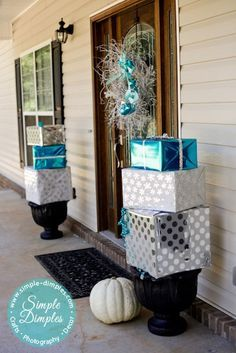 Blue Christmas - Front Porch Christmas Decor - Branch wreath and wrapped boxes on planters Christmas Boxes Decoration, Blue Christmas Decor, Christmas Porch, Silver Christmas, Noel Christmas, Outdoor Christmas Decorations, Christmas Crafts, Holiday Decor, Christmas Ideas