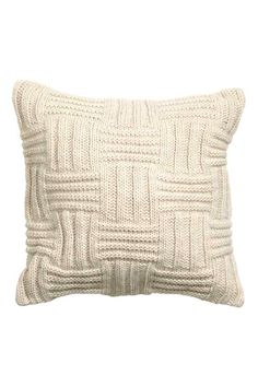 Pattern Chunky Knit Checkered Basket Cushion Cover Decorative Throw Pillow Cover Wool Bland With Cotton Canvas Backing (Light Beige) Crochet Pillows, Knitted Cushions, Knit Pillow, Knitted Blankets, Crochet Hooks, Chaise Cushions, Knitted Cushion Covers, Throw Pillow Covers, Throw Pillows