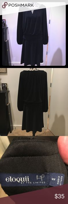 Eloquii by Limited Black Blouson Dress, Size 14W Beautiful, a-line blouson dress - I love the flattering fit! Excellent used condition (no visible signs of wear). Eloquii Dresses Midi
