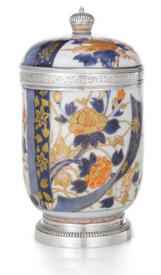 Regence Silver Mounted Chinese Imari Porcelain Pot, early 18th century.