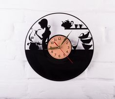 Vinyl Clock kitchen food wall clock gift for by VinylClockUkraine