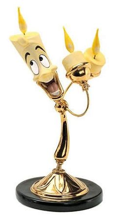 WDCC Disney Classics Beauty And The Beast Lumiere #WDCCDisneyClassics #Art. Candelabra Arms: Bronze with metal candlewicks. Candelabra Stem: In shiny gold paint. Suspended 02/09.
