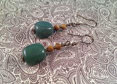 Sage Green Stone Drop Earrings, handmade earrings by jennamahshie, $18.00 http://www.copperandteal.com