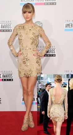 Taylor Swift makes a departure from her usual red-carpet look at the 2012 American Music Awards, wearing a nude-toned metallic minidress--an outfit that shows off the nearly 6 foot tall singer's rarely seen legs, as well as her back!