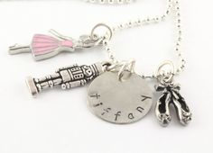 Nutcracker Charm Necklace for Ballerina - Ballet Girl - Custom Personalized Silver Hand Stamped Necklace