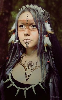 """This is NOT Native American!!!! This wonderful photo is a fantasy cosplay, created by a brilliant photographer and a beautiful model. Native Americans, as well as any other superior race or nation, DO NOT have an exclusive right for wearing fur/feathers of killed animals and birds, antlers etc... Ancient humans wore """"ethnic"""" clothing all over the globe without asking permission! So, this image IS NOT OFFENSIVE to anyone!!!!"""