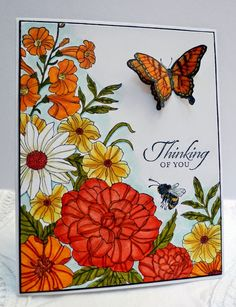 Stampin' Up! handmade card from Sleepy in Seattle: Colorful Corner Garden . luv the warm summery look these flowers take on in oranges and yellows . shading technique makes these flowers pop . Making Greeting Cards, Greeting Cards Handmade, Butterfly Cards, Flower Cards, Corner Garden, Stamping Up Cards, Get Well Cards, Tampons, Copics