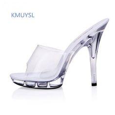 3d0e1a11d77 Transparent Women Summer Shoes Super High Heels 13 cm 15 cm Sandals Platform  Sexy High Heels