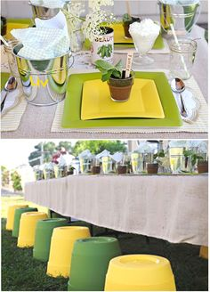 Like the garden party theme - could get small buckets for each place setting instead of using bread plate