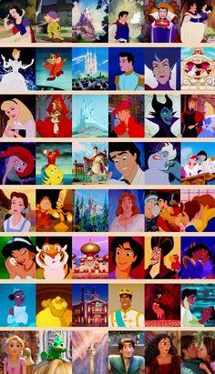 Disney princess, companion, castle, prince, villain, and happy ending