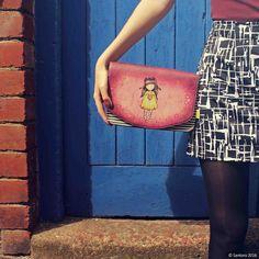 #Gorjuss street style; add a #chic touch with our Heartfelt #clutch! #SantoroLondon #Heartfelt #streetstyle  Shop at: http://www.santoro-london.com/shop/gorjuss-clutch-bag-heartfelt.html