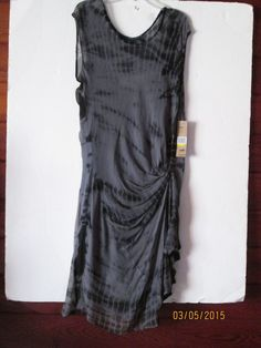 DKNYJEANS sz. M NEW$109.50 BLACK/GRAY SHEER SLIP LINED SIDE SASH DRESS-$30.00 #DKNYJEANS #Sexy