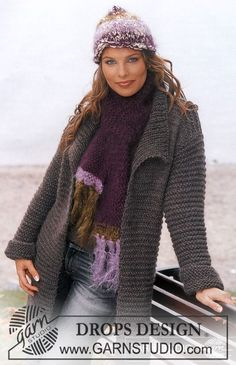 DROPS Cardigan, hat and scarf in Alaska and Vivaldi ~ DROPS Design