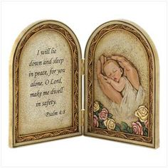 biblical baby blessing plaque   Description  Beautiful two-panel plaque portrays a newborn safely asleep in the Lord's sheltering hands, tenderly illustrating the words of the accompanying Psalm 4:8 verse. A true blessing for the discerning decorator!