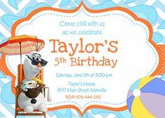 Olaf Frozen Snowman Summer Birthday Party Invitation - Printable