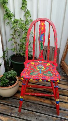 My 3rd Pakistani truck art inspired painted chair
