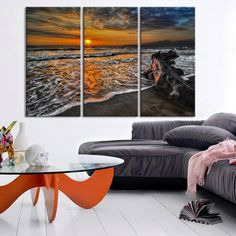 Large Wall Art Canvas Ocean Beach and Tree Print - 3 Panel Ocean Lands | Extra Large Wall Art Canvas Print