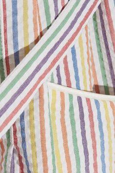 HVN - Maria Belted Striped Seersucker Dress - Red - US