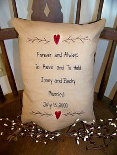Primitive Wedding Sampler Pillow Cover Custom Made by wvluckygirl, $17.00