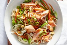 Seared Salmon Noodles With Scallions | Real Simple