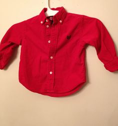 Chaps Boys Shirt Infant Size 24M Red   $9.99