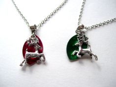 Red or Green Reindeer Necklace by TheWhimsicalWodgelet on Etsy, $10.00