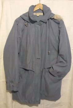 cf5c2ab6ccc London Fog Light Periwinkle Blue Hooded Coat Jacket with Fur Trim Size L  Regular…