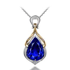 Beautiful 19.87ct Natural Blue Tanzanite in 18K Gold Pendant by CHARMES Jewellery
