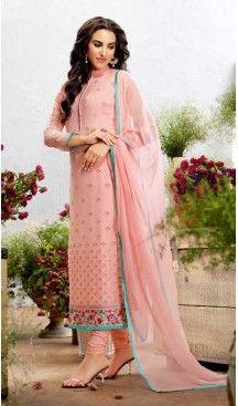 Georgette Fabric Evening Wear Straight Cut Dresses in Salmon Color | FH523579306 #pakistani , #evening , #dress , #heenastyle , #party , #wear , #anarkali , #salwar , #kameez , #dupatta , #churidar , #suit , #fashion , #online , #shopping , #casual , #designer , @heenastyle , #store, #shop , #boutique , #straight , #georgette , #fabric