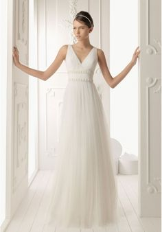 [$339.00] Tulle V-Neck Column Sexy Wedding Dress